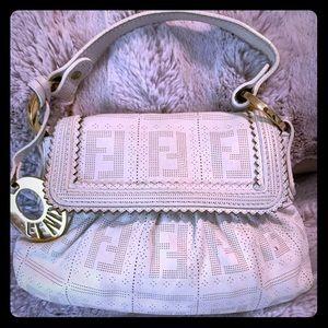 Fendi white perforated leather mini chef flap bag